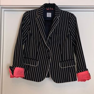Navy/White stripe blazer with hot pink accents